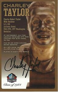 Charley Taylor Washington Redskins  Football Hall Of Fame Autographed Bust Card