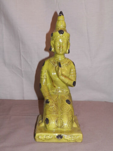 "YNEW VINTAGE LOOK MEDITATING BUDDHA PRAYING ZEN FENG SHUI 13.5/"" CERAMIC 4 COLORS"