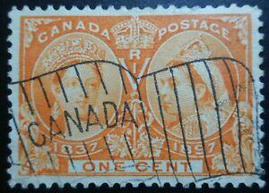 Canada-stamps-Scott-51-1c-Orange-The-Queen-Victoria-Jubilee-Issue-of-1897