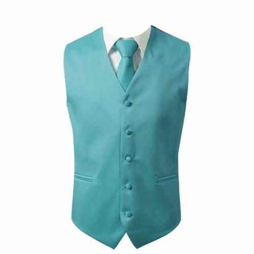 Brand Q 3pc Men/'s Dress Vest Necktie Pocket Square Set For Suit or Tuxedo