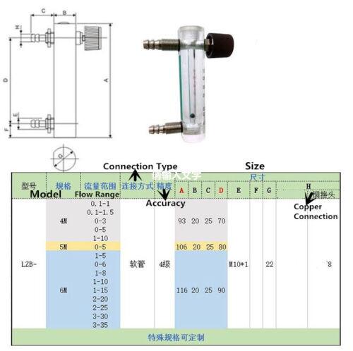 Caudalímetro Medidor de flujo de oxígeno 0-6LPM 6L con válvula de control para el gas de aire de oxígeno