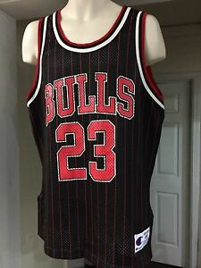 the latest 0bb00 36d22 Details about VTG🔥 Champion NBA Michael Jordan Pinstripe Black Red Bulls  Jersey USA 44 SICK!