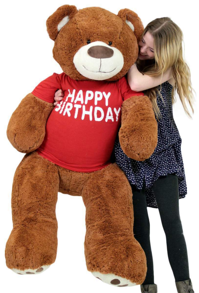 Happy Birthday 5 Foot Big Plush Giant Teddy Bear Soft Cinnamon color Wears Shirt