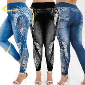 Summer-Women-Plus-Size-High-Waist-3D-Jeans-Print-Leggings-Casual-Jeans-BY