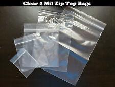 Clear 2 Mil Zip Seal Bags Poly Plastic Reclosable Top Lock Zipper Baggies 2mil