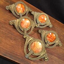 Vintage Drawer Pulls Lot (5) Art Deco Nouveau Waterfall Swirl PRIORITY MAIL