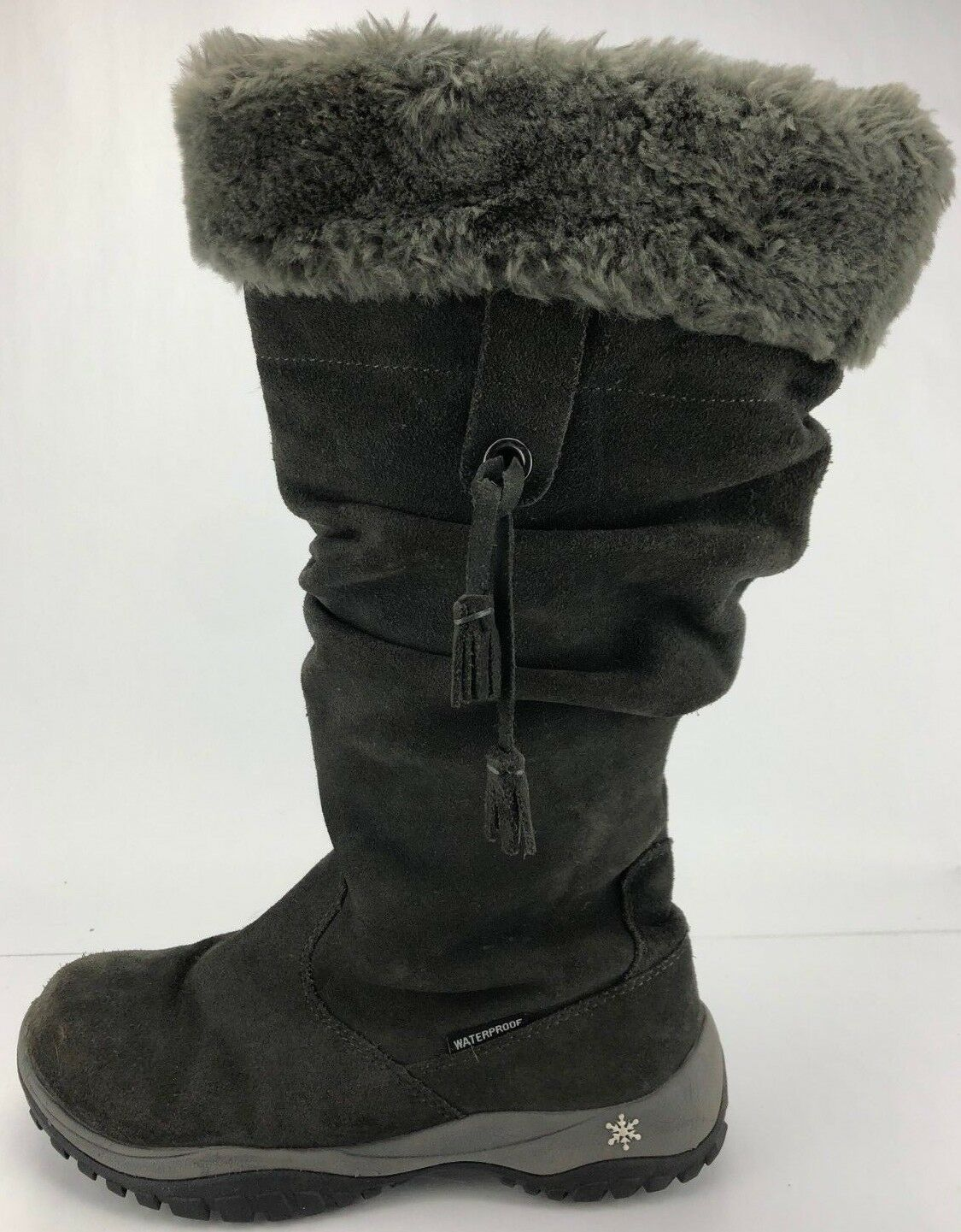 Baffin Winter Boots Katherine Shearling Lined Waterproof Suede shoes Women 9 Grey