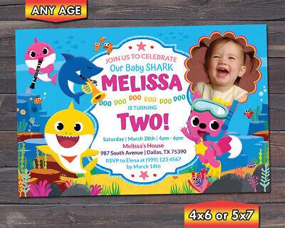 Baby Shark Birthday Party Invitation card Editable /& Printable Digital docx