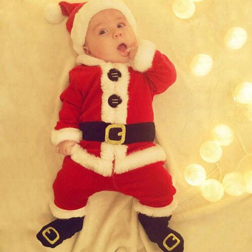 4PCS Infant Baby Costume Santa Noël Tops Pantalon Chaussettes Costume Set Costume Chapeau