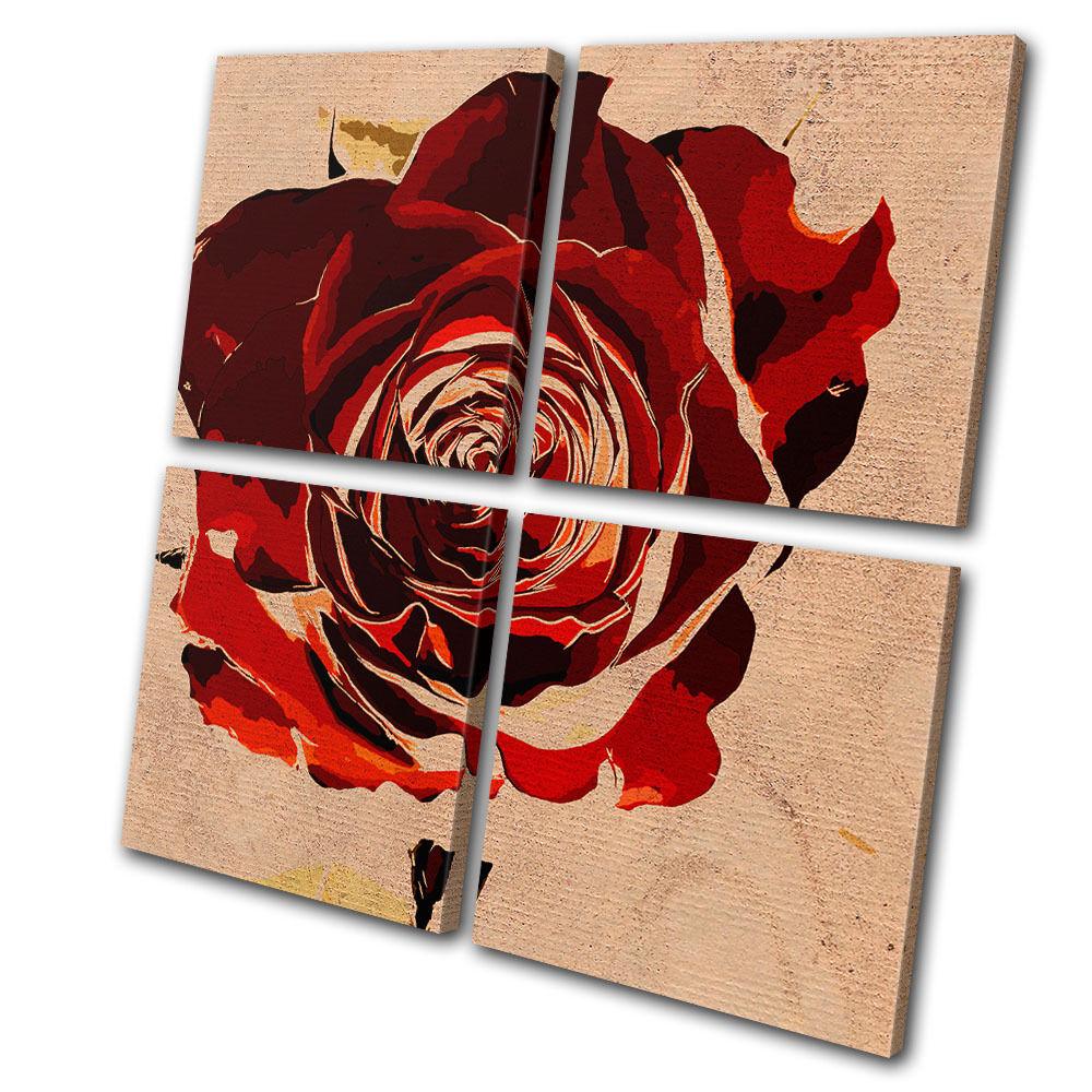 Floral Abstract Rose Love MULTI LONA pa rojo arte  arte rojo Foto impresion 79a74b
