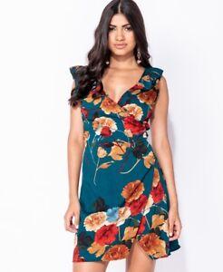 Top-Shop-Parisian-UK-Summer-Rose-Floral-Wrap-Frill-Detail-Mini-Dresses-Blue