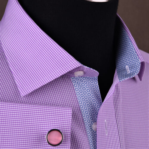Mini Pink Gingham Check Formal Business Dress Shirt Easy Iron Soft Purple Plaids