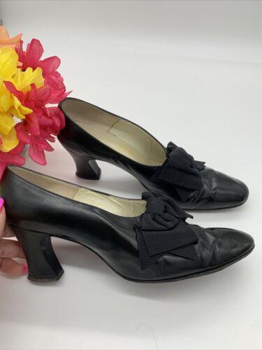 Antique Edwardian Bonwit Teller Black Leather Sho… - image 1