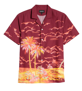 Neue Bonobos Shirt Button Hawaiian Island Print Cabana Herren große organische Baumwolle