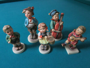 HUMMEL-5-FIGURINES-LOT-BROTHER-SWEET-MUSIC-TRUMPET-BOY-SIGN-OF-SPRING-HAPPINESS
