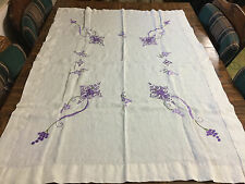 "Vintage White Fine Linen Table Cloth Topper 49"" L x 35"" W Embroidered Purple"