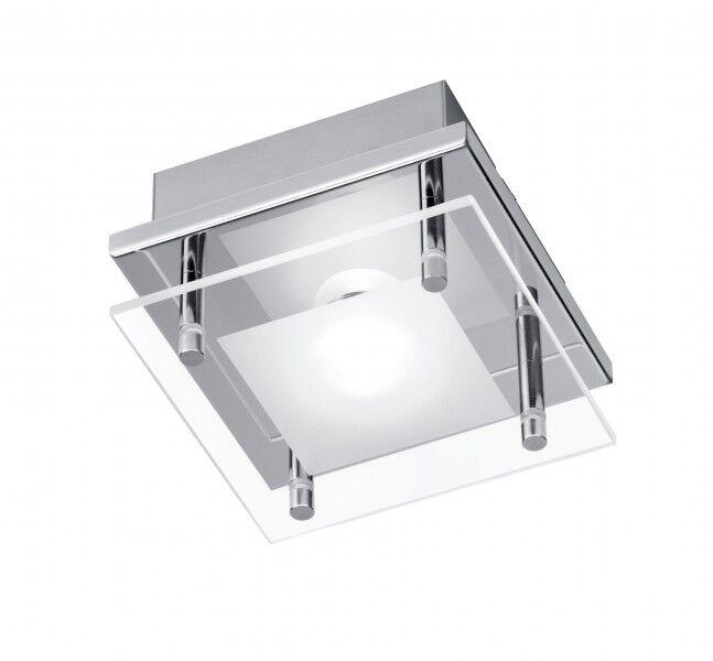 LED Plafoniera quadrata 1x3,3 watt design moderno cromo vetro IP20 cucina 62158