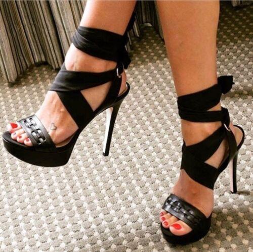 Details about  /Sexy Women Roman Lace-up Metal Buckle Slingback Sandals Peep Toe Stilettos Shoes