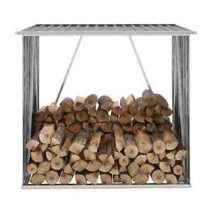 vidaXL-Garden-Log-Storage-Shed-Galvanised-Steel-Grey-Firewood-Timber-Rack