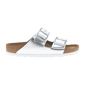 Birkenstock Arizona Soft Footbed Metallic Silver Leather Unisex Sandals 41 (US Women's 10 10.5)