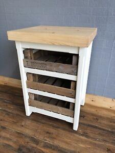 Small Kitchen Island Cupboard Drawers Butchers Block Storage Unit Rustic Pine Ebay