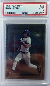 1996-96-Leaf-Steel-Derek-Jeter-Rookie-RC-40-Yankees-HOF-Graded-PSA-9