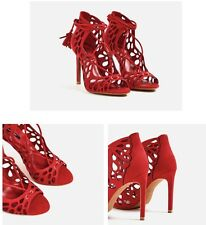 Zara Red Openwork Wraparound High Heel Lace Up Sandals US 7 1/2