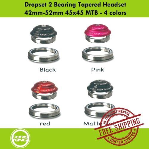 4 colors Chris King Dropset 2 Bearing Tapered Headset 42mm-52mm 45x45 MTB