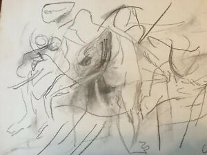 Willem de Kooning Signed Abstract Expressionist Figural Drawing Estate Find Rare