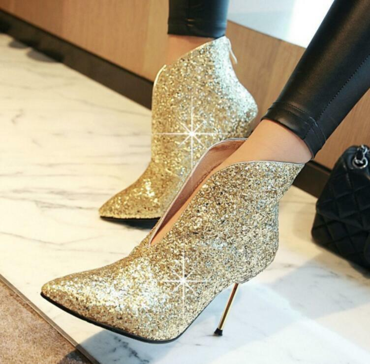 Womens Sequins Pointed Toe Bling Ankle Boots High Heel Stilettos Boots US 4-10.5
