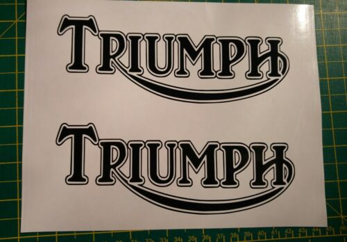 ****TWO X TRIUMPH TANK STICKERS//DECALS  BIKE DECAL**other colours***