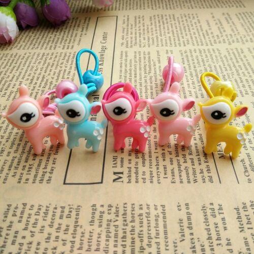5pcs Kids Girls Cute Deer Shape Hair Bands Ropes Elastic Ponytail Holders