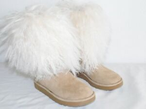 6905488be3c Details about NEW WOMENS SZ 5 NATURAL UGG 1017516 LIDA MONGOLIAN SHEEPSKIN  SUEDE BOOTS $320