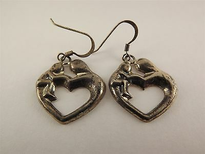 Vintage Sterling Silver Mother & Child Heart Earrings .925 Solid 4.8 Grams