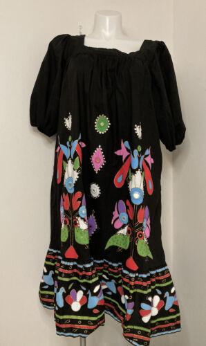 Ramona Rull Vtg Dress Painted Appliqué Detail Bir… - image 1
