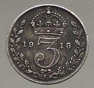 1918-UK-Great-Britain-United-Kingdom-KING-GEORGE-V-Silver-Threepence-Coin-i56810
