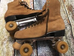 VTG-Braun-Bilt-Roller-Skates-Women-039-s-10-5-Brown-Top-Grain-Cowhide-Leather-READ