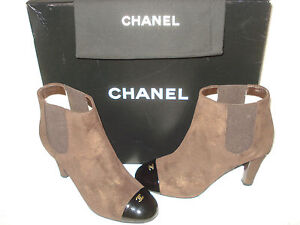 100% AUTHENTIC NEW WOMEN CHANEL SUEDE AND PATENT ANKLE BOOTS US 6