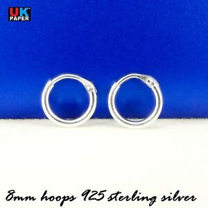 New-925-Sterling-Silver-8mm-Small-Tiny-Hoop-Sleeper-Earrings-Stud-Nose-Ring-Pair