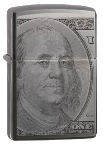 Zippo-Currency-Design-Black-Ice-Windproof-Pocket-Lighter-49025