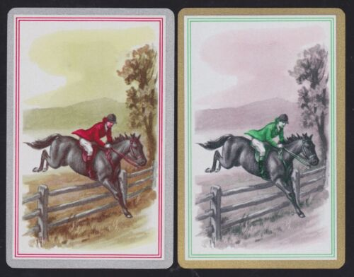 2 Single VINTAGE Swap//Playing Cards LADY ON HORSE JUMPS FENCE ID HUNT HP-8-47