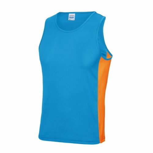 Mens Cool Contrast Panel Sports Vest Sleeveless Gym Running Sportswear  Top