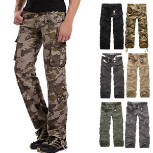 c665978aef87f Mens Multi Pocket Military Camo Long Pants Work Army Casual Straight ...
