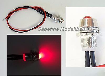 LED Rot 5mm Chrom Metall Fassung Halter Schraube 9V 12V Anschlußfertig C2686