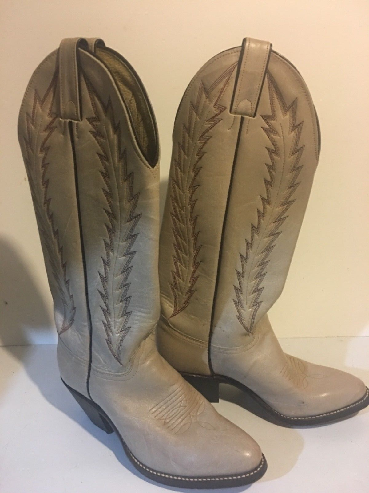 ABILENE USA LEATHER UPPERS COWGIRL western  bottes TAN BEIGE 6.5 STITCHED