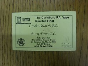 04032006 Ticket Crook Town v Bury Town FA Vase Yellow Ticket slight creasi - Birmingham, United Kingdom - Returns accepted within 30 days after the item is delivered, if goods not as described. Buyer assumes responibilty for return proof of postage and costs. Most purchases from business sellers are protected by the Consumer Contr - Birmingham, United Kingdom