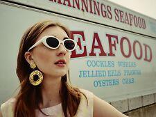 Nuovo con etichette VINTAGE 90s DO 70s Ex Topshop Bianco cerchiati Cat Eye occhiali da sole