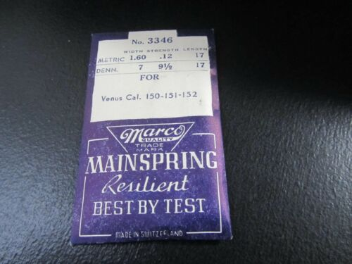 NEW OLD STOCK VENUS 150-151-152  MAINSPRING WATCHMAKER REPLACEMENT PART