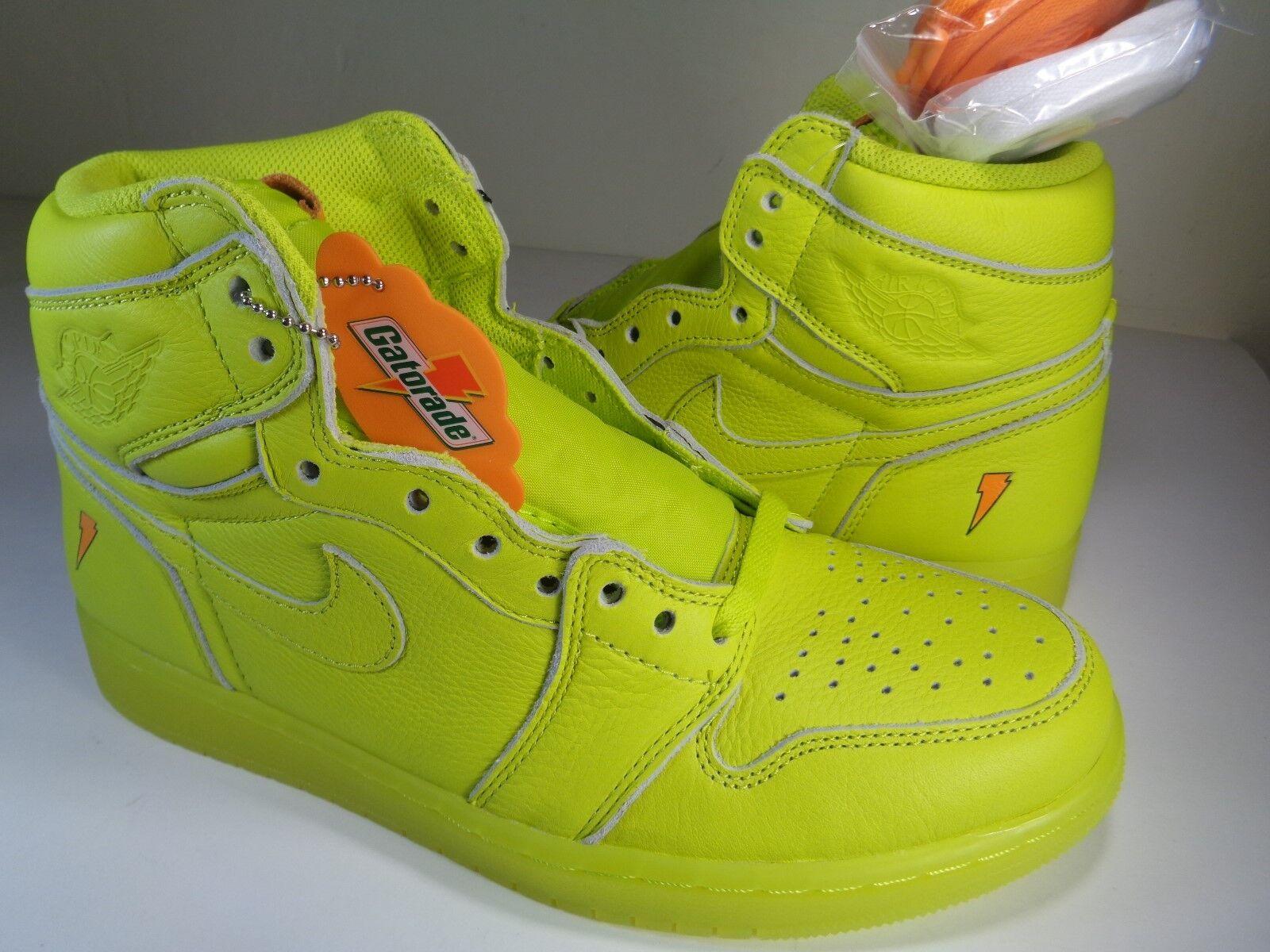 Nike Air Jordan 1 Retro High OG Gatorade Cyber Yellow Lime SZ 9.5 (AJ5997-345)