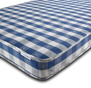 Image Is Loading Budget Mattress Chequered 2ft6 3ft Single 4ft 4ft6